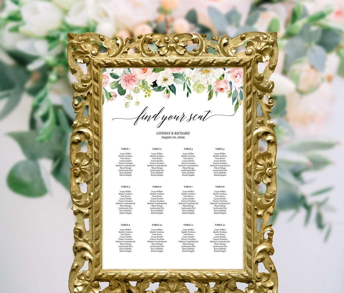 Floral wedding seating chart template Wedding reception | Etsy