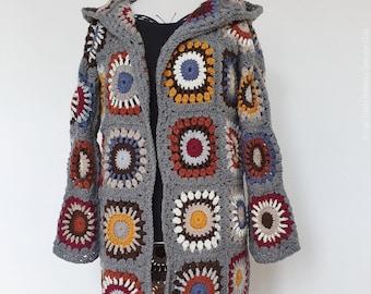 US Crochet Pattern Rebecca Sweater Coat   | Grannysquare | Retro | Hippie | Cardigan | Vest | Jacket