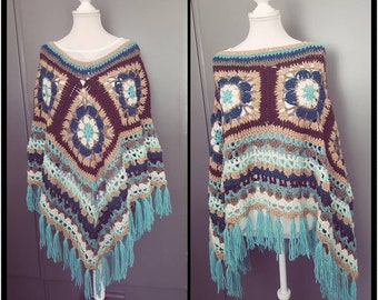 WOMENS PONCHO with HOOD Spiral Flower Design