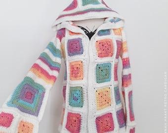 US Crochet Pattern Retro Cardigan | Boho | Grannysquare | Hippie | Jacket | Vest