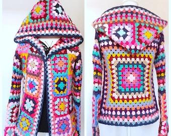 US Crochet Pattern  Grannysquare Cardigan | Boho | Retro | Hippie | Jacket | Vest