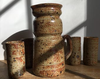 Jug, pitcher, jug speckled / made in France / rustic / pottery