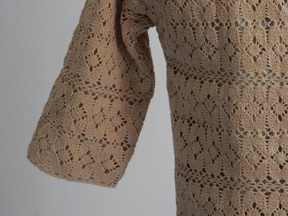 1930s sand-colored crochet cardigan - image 7