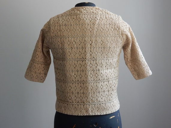 1930s sand-colored crochet cardigan - image 6