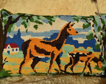 Needlepoint tapestry cushion / tapestry / DOE and her Fawn / forest animals