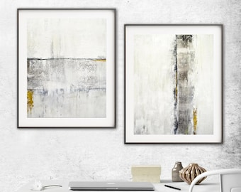 Modern Set Of Two Digital Download Prints White Gold Diptych Abstract Art Contemporary Painting Elegant Art Interior Design Instant Download