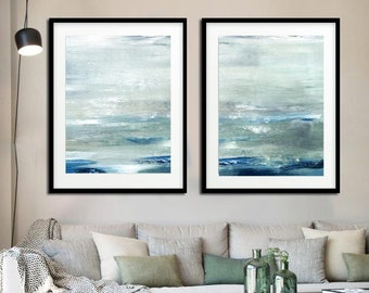 Abstract Print Digital Download Set Of Two Printable Art Sage Blue Modern Art Contemporary Painting Ocean Print Diptych Seascape Art Design