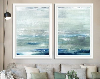 XXL 20x30 INSTANT DOWNLOAD Print Abstract Ocean Digital Download Set Of Two Sage Blue Modern Art Contemporary Painting Diptych Seascape Art