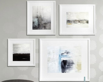 Abstract Art Print SET OF FOUR Digital Download 4 piece Art Collection Modern Art Contemporary Painting Blue Gray Black wall art wall decor