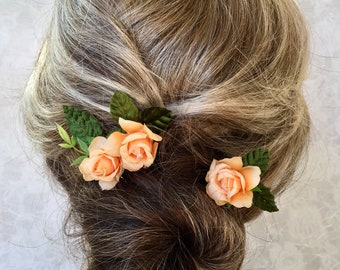 Hair Flowers,Bridesmaid,Prom,Festival,Boho Sage Moss Green Rose Hair pins