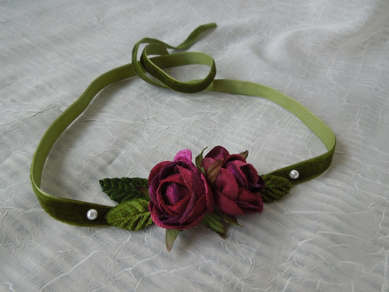 Toddler wedding headpiece,newborn burgundy rose tie back,toddler velvet head band,vintage inspired infant tieback,pink rose baby photo prop