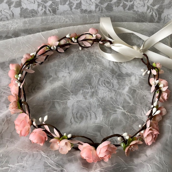 Blush bridal crown,pale peach flowers,blush and mint green,simple floral hair vine,blush and pearls,garden wedding,spring flowers,boho halo