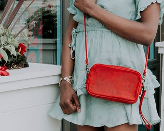 Leather Cross Body Bag, Distressed Leather Bag-Jasper | Rose Red