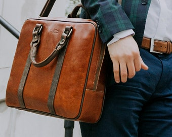 HUGE SALE Leather Laptop Bag Mens Briefcase 13 inch Laptop Bag Brown Leather  Anniversary Gift Birthday Gift for Him   Stephenson - Cognac 6294470711