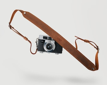 Distressed Leather Camera Strap, Personalized Custom Rustic Leather Pro DSLR Camera Holder, Brown Heavy Duty Camera Strap - Steve Mahogany