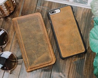 Magnetic Leather iPhone Wallet, Personalized, Monogrammed, Leather iPhone Case, Father's Day Gift, Graduation Gift | McLean - Cinnamon Brown