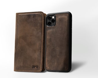 PERSONALIZED iPhone Wallet Leather Phone Case Distressed Leather Magnetic Case Monogram iPhone 6/ 7/ 8 & Plus /X XS/ 11 | McLean Chestnut