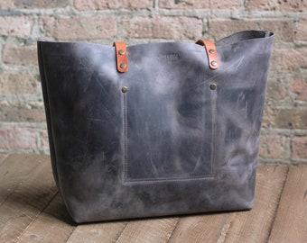 2b03552d6e6f Leather Tote Gray HUGE SALE