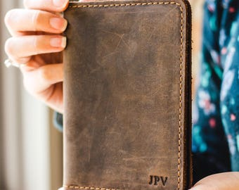 Personalized Leather Passport Wallet, Distressed Leather Travel Wallet, Passport Holder, Leather Passport Cover - Pike | Chestnut Brown