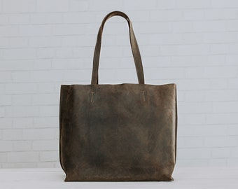 5b402d87844b HUGE SALE Monogrammed Leather Tote Womens Leather Bag Personalized Tote  Distressed Leather Monogram Initials Gift For Her | Mercer- Chestnut