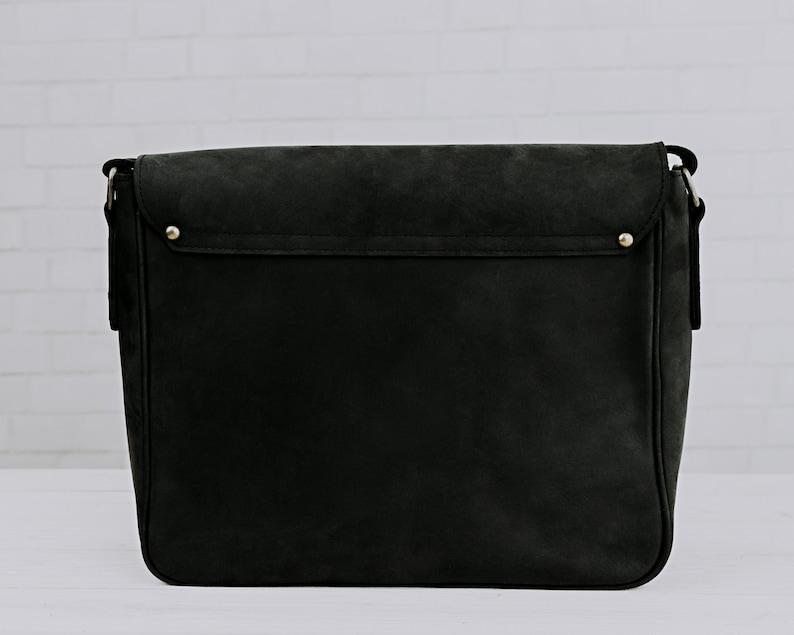 Charcoal Black Mens Leather Messenger Distressed Black Leather Messenger Bag Mens Work Briefcase 13 Inch Laptop Bag Warren