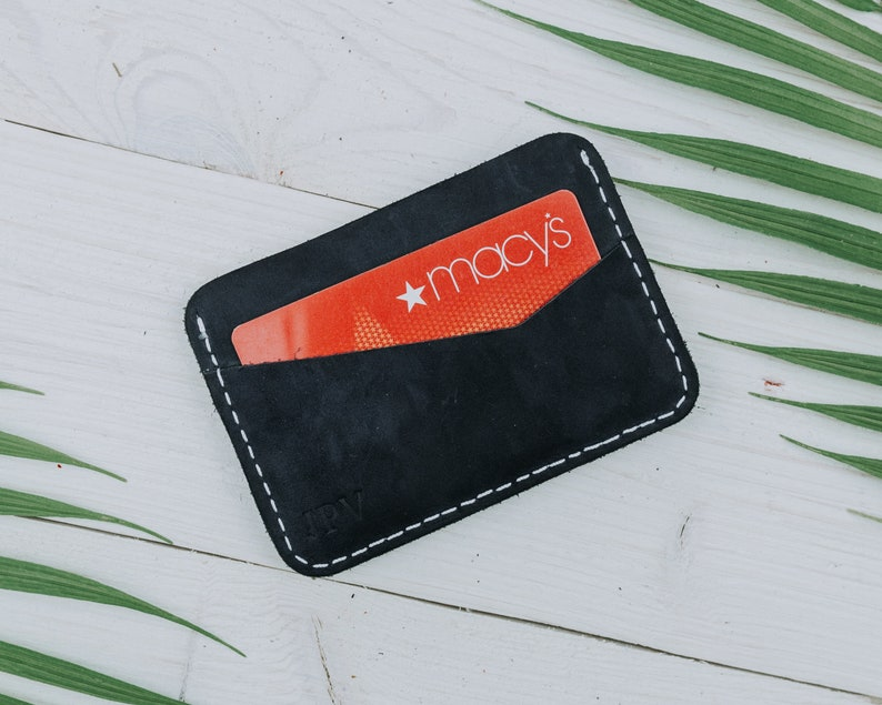 548fd20cc4 MONOGRAMMED Leather Cardholder Mens Wallet Minimalist Card Holder Silm  Wallet Personalized Gift For Him Add Initials | Clay - Navy w White