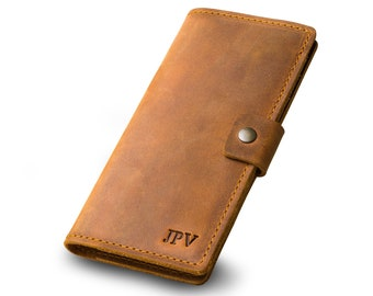 PERSONALIZED Leather Checkbook Cover Distressed Leather Check Cover Monogrammed Gift For Him or Her Monogram Initials | Clark-Cinnamon Brown