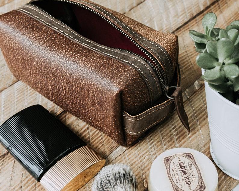 5667c1898d MONOGRAMMED Dopp Kit Mens Leather Shaving Kit Distressed