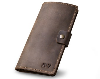 PERSONALIZED Leather Checkbook Cover Distressed Leather Wallet Check Holder Gift For Him Or Her Monogram Initials | Clark - Chestnut Brown