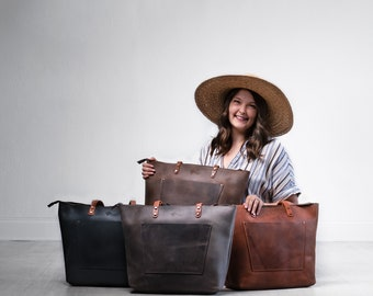 Handcrafted Leather Tote SALE, Tote w Zipper and Pocket, Laptop Work Student Bag, Personalized Leather Purse Shoulder Bag, Pegai LaSalle