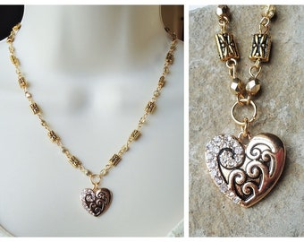 Heart Pendant Necklace.Crystal.Metal.Gold.Chain.Valentine.Lucky.Bridal.Bridesmaid.Small.Vintage.Statement.Bohemian.Friendship.Gift.Handmade.