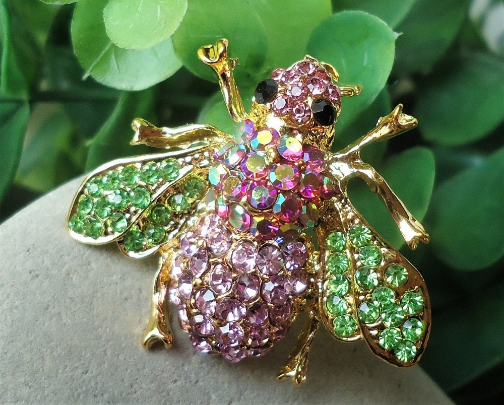 Honey Bee Brooch.Topaz.Pin.Jeweled.Crystal.Rhinestone.Bridal.Bridesmaid.Insect Brooch.Dragonfly.Bug.Gold.Butterfly.Vintage.Gift.Handmade.