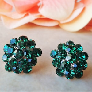 Multi Colors Stud Earrings.Crystal.Post Earrings.Jeweled.Aurora Borealis.Gold.Bridal.Cluster.Bridesmaid.Gemstone.Formal.Big.Gift.Handmade.