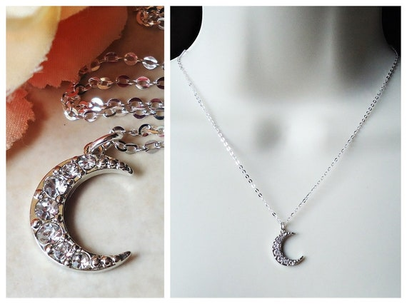 Dainty Silver Crystal Moon Necklace Gift For Her Gift For Wife Bridsmaid Gift Crystal Moon Neclace Crescent Moon Silver Crystal Necklace