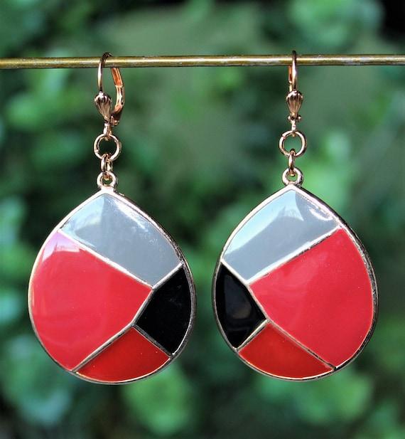 Multicolour enamel long earrings