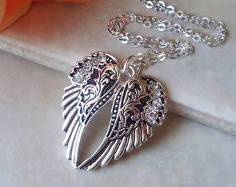 Angel Wing Pendant Necklace.Jeweled.Crystal.Dainty.Sterling Silver Chain.Lucky.Bridal.Bridesmaid.Gemstone.Small.White.Vintage.Gift.Handmade.
