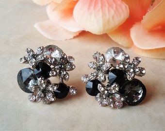 Smoky Black Stud Earrings.Jet Crystal.Post Earrings.Jeweled.Silver.Bridal.Colorful.Statement.Multi colors.Bridesmaid.Vintage.Gift.Handmade.