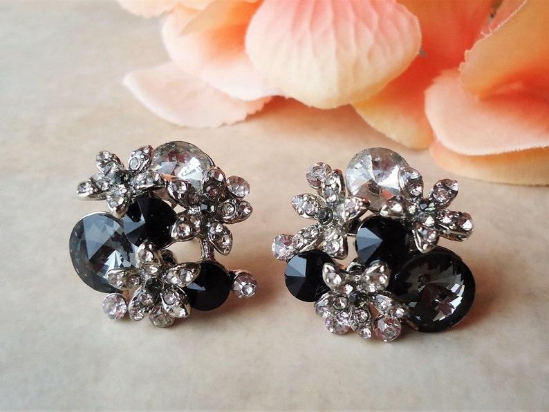BlackWhite Dangle Earrings.Hematite Crystal Cluster.Bridal.Statement.Chandelier.Long Earrings Clip-On Earrings.Formal.Big.Boho.Handmade.