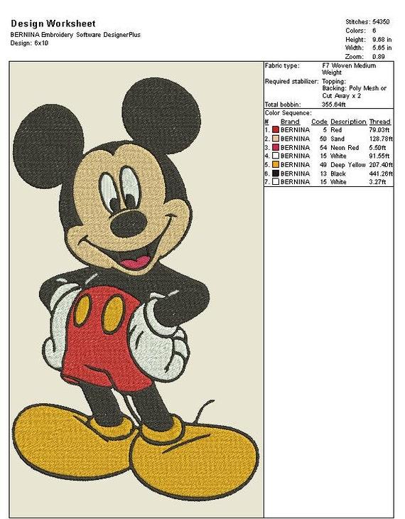 Diseño del bordado de Mickey Mouse | Etsy
