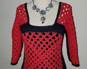 Woman 39 s Sexy granny square Red and Black cotton cold shoulder top.