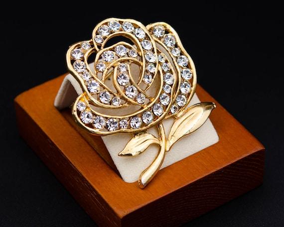 Peony brooch Huge flower brooch Cottagecore gold … - image 8