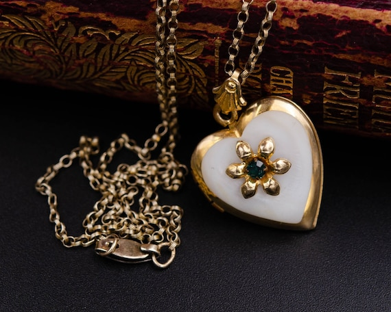Mother of pearl locket Gold heart locket necklace… - image 2