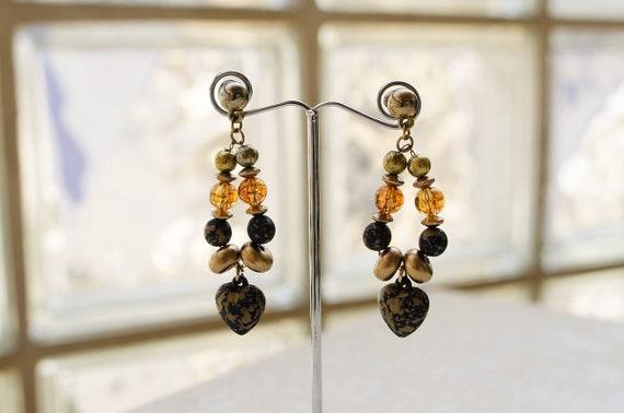 Black heart earrings Amber dangle earrings Gothic
