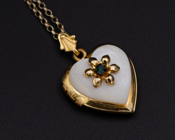 Mother of pearl locket Gold heart locket necklace… - image 8