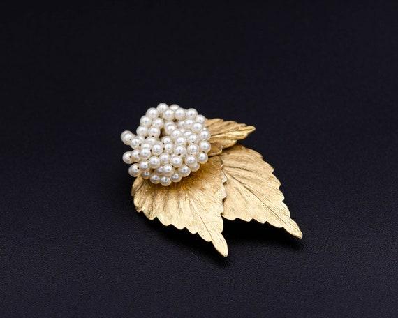 3 leves brooch Coat brooch Pearl leaf brooch