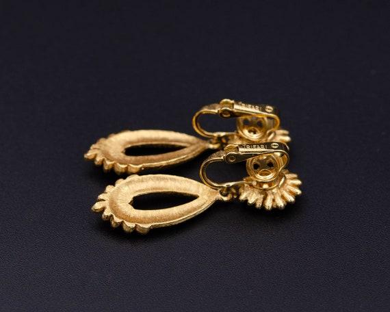 Trifari earrings Non pierced earrings Long teardr… - image 3