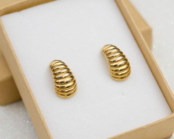 Monet hoop earrings Gold huggie earrings Half hoop