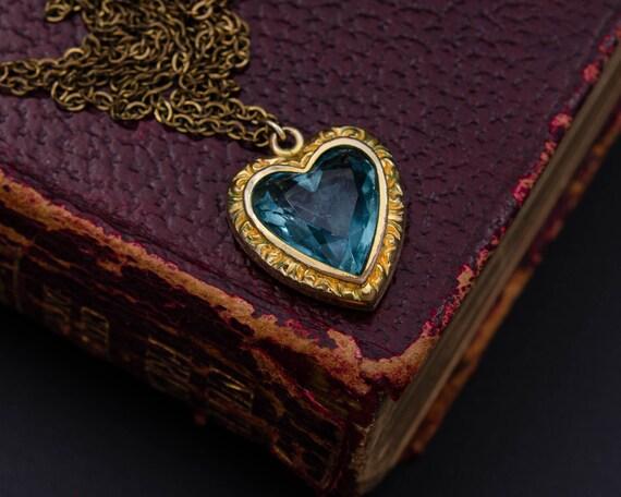 Puffy heart pendant Sky blue heart necklace Dark A