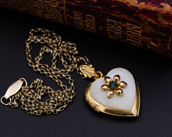 Mother of pearl locket Gold heart locket necklace… - image 4