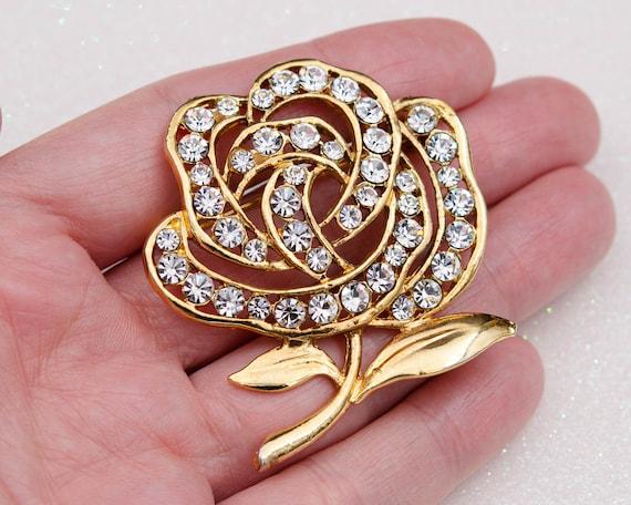 Peony brooch Huge flower brooch Cottagecore gold … - image 3